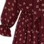 ชุดเดรสไซส์ใหญ่แขนยาวผ้าจอร์เจียสีแดงพิมพ์ลายสีขาวเชียวผูกโบว์ช่วงคอติดยางยืดช่วงเอว thumbnail 6
