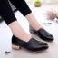 K01 รองเท้าคัชชู หนัง pu แต่งให้ดู สีคลาสสิก ส้นตัดสีไม้ thumbnail 1