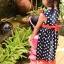 ชุดกระโปรงเด็ก แขนกุดมีระบาย สีกรมจุดขาวแต่งโบว์สีบานเย็นน่ารัก thumbnail 4