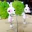 ต่างหูดินปั้น กระต่ายสีขาวแต้มชมพู Bunny pink & white Earrings thumbnail 2