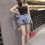 กางเกงยีนส์ขาสั้น ปักดอกกุหลาบ ต่อชายผ้าตาข่าย thumbnail 5
