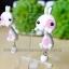 ต่างหูดินปั้น กระต่ายสีขาวแต้มชมพู Bunny pink & white Earrings thumbnail 3