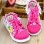 รองเท้าเด็กหญิงสีชมพู แบบผูกเชือก ประดับลูกไม้น่ารัก Size 27-32 thumbnail 2