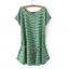 เสื้อผ้าสาวอวบแขนล้ำผ้าคอตตอนลายทางสีเขียวอ่อนสลับสีขาว + เชือกผูกเอว thumbnail 5