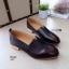 K01 รองเท้าคัชชู หนัง pu แต่งให้ดู สีคลาสสิก ส้นตัดสีไม้ thumbnail 4
