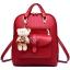[ Pre-Order ] - กระเป๋าเป้แฟชั่น นำเข้าสไตล์เกาหลี สีแดงเข้ม แต่งหัวเข็มขัดช่องใส่ของด้านหน้า ดีไซน์สวยเก๋ ที่สาวๆ ไม่ควรพลาด thumbnail 1