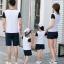 เสื้อครอบครัว - เสื้อยืดแฟชั่นสีขาวลายปาก ต่อแขนสั้นสีดำ thumbnail 5