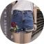 กางเกงยีนส์ขาสั้น ปักดอกกุหลาบ ต่อชายผ้าตาข่าย thumbnail 2