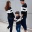 เสื้อครอบครัว - เสื้อยืดแฟชั่นแขนยาว สีขาวดำ thumbnail 4