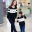 เสื้อครอบครัว - เสื้อยืดแฟชั่นแขนยาว สีขาวดำ thumbnail 2