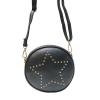 กระเป๋าแฟชั่น สไตล์เกาหลี สีดำคลาสสิค ใบเล็กๆ ทรงกลมแต่งหมุดรุปดาว สุดเก๋ น่ารัก ใบเล็กกระทัดรัด พกพาสะดวก น้ำหนักเบา