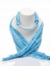 ผ้าพันคอสีฟ้าทูโทน ประดับมูนสโตน