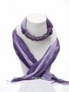 ผ้าพันคอสีม่วงทูโทน ประดับหินอเมทิส