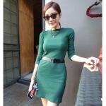 (สินค้าพร้อมส่งค่ะ) ชุดเดรสเกาหลี คอปาด แขนยาว ผ้า Rib stretch cotton เนื้อผ้าดี ทรงเข้ารูปเก๋ – green