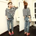 Ouremu (สินค้าพร้อมส่งค่ะ) ชุดเอี้ยมกางเกงขาเก้าส่วนเกาหลี ผ้ายีนส์ ใส่เป็นกางเกงอย่างเดียวก็ได้ค่ะ แต่งกระเป๋าหน้า+หลัง – สี Blue Jean (Size: L)