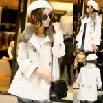 (สินค้าพร้อมส่งค่ะ) เสื้อแฟชั่น coat เกาหลี คอปก แขนยาว ผ้าสักหลาดแต่งคอปกขนเฟอร์ ดีไซด์สายรัดเก๋ช่วงคอ ลำตัวกว้าง สีขาว (Size: M)