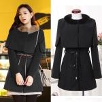 (สินค้าพร้อมส่งค่ะ) ชุดแฟชั่นเซ็ทเกาหลี สไตล์ coat ตัวในเดรสแขนยาว ผ้า cashmere เนื้อดี/ตัวนอกเสื้อคลุมตัวปล่อย+ขนกระต่ายแต่งปกหรู – สีดำ (Size: L)