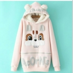 สินค้าพร้อมส่งค่ะ) เสื้อแฟชั่นกันหนาวเกาหลี แขนยาว มี hood น่ารักขนกะด้านในหู bunny แต่งน้องกระต่ายด้านหน้า ซิบยาว เก๋มากค่ะ – สีชมพู