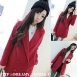 (สินค้าพร้อมส่งค่ะ) เสื้อแฟชั่น coat เกาหลี ตัวยาว คอปก แขนยาว ผ้า Woolen เนื้อดีซับในเป็นขนด้านในนิ่มมากใส่แล้วอุ่นมากค่ะ – สีแดง (Size: L)