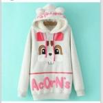 สินค้าพร้อมส่งค่ะ) เสื้อแฟชั่นกันหนาวเกาหลี แขนยาว มี hood น่ารักขนกะด้านในหู bunny แต่งน้องกระต่ายด้านหน้า ซิบยาว เก๋มากค่ะ – สี gray
