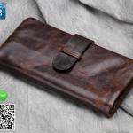 กระเป๋าสตางค์ผู้ชาย หนังแท้ 100% Long Leather Insert Lock Brown