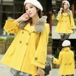 (สินค้าพร้อมส่งค่ะ) เสื้อแฟชั่น coat เกาหลี คอปก แขนยาว ผ้าสักหลาดแต่งคอปกขนเฟอร์ ดีไซด์สายรัดเก๋ช่วงคอ ลำตัวกว้าง สีเหลือง (Size: M)
