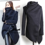 (สินค้าพร้อมส่งค่ะ) เสื้อแฟชั่น jacket เกาหลี แขนยาว ผ้าเนื้อดี ขอบหนัง สไตล์เสื้อคลุม cardigan ใส่ได้หลายแบบ ดีไซด์เท่ห์ – สี Dark Blue (Size: L)
