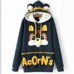 สินค้าพร้อมส่งค่ะ) เสื้อแฟชั่นกันหนาวเกาหลี แขนยาว มี hood น่ารักขนกะด้านในหู bunny แต่งน้องกระต่ายด้านหน้า ซิบยาว เก๋มากค่ะ – สีnavy