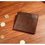 กระเป๋าสตางค์ผู้ชาย หนังแท้ 100% ทรงสั้น Leather Brown