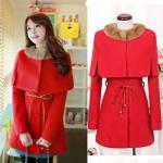(สินค้าพร้อมส่งค่ะ) ชุดแฟชั่นเซ็ทเกาหลี สไตล์ coat ตัวในเดรสแขนยาว ผ้า cashmere เนื้อดี/ตัวนอกเสื้อคลุมตัวปล่อย+ขนกระต่ายแต่งปกหรู – สีแดง (Size: L)