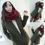 (สินค้าพร้อมส่งค่ะ) เสื้อแฟชั่น coat เกาหลี ตัวยาว คอปก แขนยาว ผ้า Woolen เนื้อดีซับในเป็นขนด้านในนิ่มมากใส่แล้วอุ่นมากค่ะ – สี dark green (Size: L)