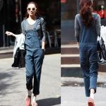 (สินค้าพร้อมส่งค่ะ) ชุดแฟชั่นเอี้ยมกางเกงขายาวเกาหลี ผ้ายีนส์เนื้อดีหนาค่ะ แต่งกระเป๋า ลำตัวกว้าง – สี Dark Blue (Size: L)