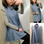 (สินค้าพร้อมส่งค่ะ) เสื้อแฟชั่นเกาหลี คอปก แขนยาว ผ้ายีนส์ตัดต่อด้วย cotton ช่วงแขน – สี Blue Jean