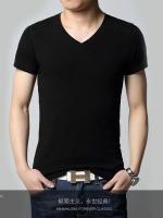 พร้อมส่ง - เสื้อยืด คอวี แขนสั้น สีดำ (M,L,XL,2XL)