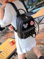 กระเป๋าเป้สีดำ วัสดุกันน้ำ หนังพียูอย่างดี ปรับสายได้ แฟชั่นเกาหลี