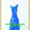 1989ชุดทํางาน เสื้อผ้าคนอ้วนฟ้าลายก้นหอยคอกลมแต่งแขนขาวสีพื้นทรงกิโมโนสไตล์ญี่ปุ่นเรียบหรูสวมใส่สบายผ้าอินโดนำเข้า