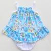 ชุดเด็กอ่อนหญิงสายเดี่ยว ผ้าคอตตอนคิตตี้สีฟ้า ไซด์ 0-3 เดือน