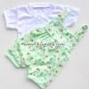 ชุดเอี้ยม+เสื้อ ลายการ์ตูนบ้าน หมี สีเขียวอ่อน 0-3เดือน