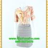 2438ชุดทํางาน เสื้อผ้าคนอ้วนลายพริ้นท์พรางสรีระไม่เน้นจุดสนใจคอผูกโบสไตล์สุภาพ เรียบร้อย มีซับใน