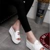 รองเท้าส้นตึกสีขาว แบบสวม เปิดส้น วัสดุพียู สไตล์หวาน รองรับน้ำหนักได้ดี แฟชั่นเกาหลี