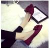 รองเท้าส้นเตี้ยผู้หญิงสีแดง หนังนิ่ม หัวแหลม ประดับโบว์ใหญ่ สวมใส่สบาย แฟชั่นเกาหลี