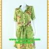 F2233ชุดแซกทำงาน เสื้อผ้าคนอ้วนลายเขียวปกเชิ๊ตเอวถ่วงผูกโบสไตล์สปอร์ต แขนยาวอินธนูทรงหลวมสวมใส่พรางรูปร่างผ้าอินโด