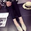 รองเท้าคัทชูแฟชั่นสีเทา หัวแหลม แบบสวม หนังPU ทรงทันสมัย เรียบง่าย ดูดี แฟชั่นเกาหลี