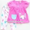 ชุดเสื้อกางเกงเข้าชุดสีชมพู ลายกระต่าย ไซด์ 3-6,6-9,9-12 เดือน