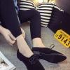 รองเท้าคัทชูผู้หญิงสีดำ ส้นเตี้ย หัวแหลม แบบเชือกผูก แนววินเทจ ย้อนยุค แฟชั่นเกาหลี
