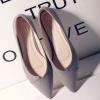 รองเท้าส้นแบนแฟชั่นสีหมอก หัวแหลม วัสดุพียู พื้นยาง ยืดหยุ่นพับได้ แฟชั่นเกาหลี