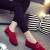 รองเท้าคัทชูผู้หญิงสีแดง ส้นเตี้ย หัวแหลม แบบเชือกผูก แนววินเทจ ย้อนยุค แฟชั่นเกาหลี