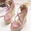 รองเท้าส้นเตารีดแบบรัดส้น สายไขว้ (สีชมพู)