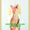 1990ชุดทํางาน เสื้อผ้าคนอ้วนเหลืองลายคอกลมแต่งแขนพื้นทรงหลวมสไตล์ญี่ปุ่นเรียบหรูสวมใส่สบาย