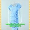 2463เสื้อผ้าคนอ้วน เสื้อผ้าแฟชั่นจับเดรฟข้างซ้ายสีฟ้าสง่างาม สะดุดตาจนน่าหลงไหล ชุดหรูสวมใส่ออกงานยามค่ำคืน ด้วยดีไซน์ที่ชวนมองและสะดุดตากับผ้าฮานาโกะเนื้อดีมีน้ำหนัก